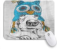 PATINISAマウスパッド 耳フラップ付き犬バセットハウンドフクロウ帽子のファッションポートレート ゲーミング オフィ良い 滑り止めゴム底 ゲーミングなど適用 マウス 用ノートブックコンピュータマウスマット