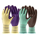 COOLJOB Gardening Gloves for Women/Men, Breathable Rubber Coated Non-Slip Durable Garden Gloves for Lawn, Yard Outdoor Work (2 Pairs L)