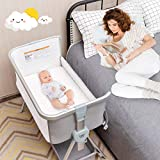 BABY JOY Bedside Bassinet, Portable Baby Crib w/Mattress, Two-Side Breathable Mesh, 7 Height Adjustable, Large Storage, Wheels for Easy Movement, Crib for Newborn Infant, Bassinet for Baby, Grey