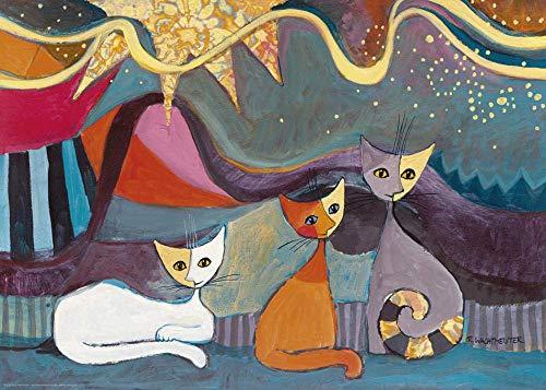 Rompecabezas de pintura al óleo de gato abstracto para niños adultos, grandes pinturas intelectuales educativas Juego de rompecabezas Juguetes Regalo para juegos Decoración de la pared del hogar