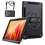 GROLEOA Galaxy Tab A7 10.4 inch Case 2020 with Rotatable Kickstand, Heavy Duty Rugged Protective Cover Adjustable Hand Grip Detachable Shoulder Strap for Samsung Galaxy Tablet A7 [SM-T500/T505/T507]