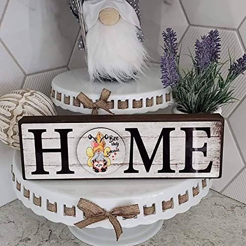 Taloit Cartel de gnomo para el hogar, decoración de gnomo de jardín, cartel de bienvenida al hogar, cartel de madera con 12 rondas intercambiables, decoración de mesa de escritorio para el hog