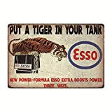 Esso Put a Tiger in Your Tank, Vintage Look Metal Wall Decor Garage Sign 12' x 8'