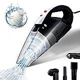 Aspiradora de coche GSSUSA de alta potencia, portátil con cable con 2 filtros HEPA para uso en seco y húmedo con luz LED de bajo ruido 16.4 pies CC 12 V accesorios para coche con bolsa de transporte