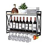 LYLSXY Estante de Vino, Organiza la Cocina Montada en la Pared Racks de Vino de Oro Negro | Titular de la Botella de Vino Vintage Rack de Copa de Vino | Estante de Pared de Alenamiento de Estanterías