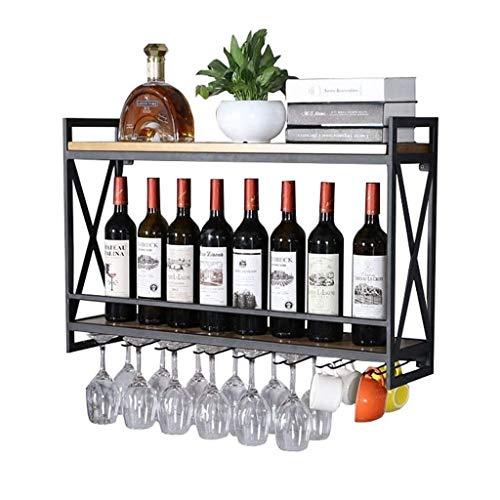 LYLSXY Estante de Vino, Organiza la Cocina Montada en la Pared Racks de Vino de Oro Negro   Titular de la Botella de Vino Vintage Rack de Copa de Vino   Estante de Pared de Alenamiento de Estanterías