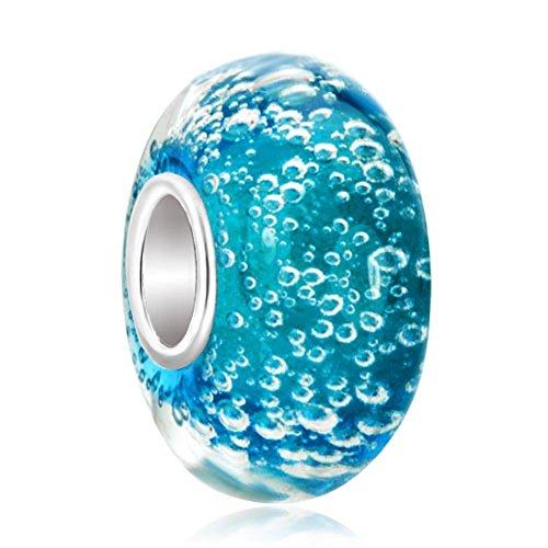 LovelyJewellery Blue Bubbles Murano Glass Beads Sale Cheap Charms Fit Pandora Charm Bracelets