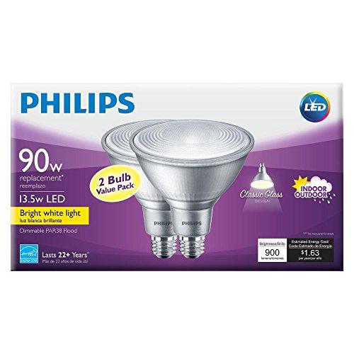 Philips 90W Equivalent Bright White (3000K) PAR38 Dimmable Classic Glass LED Energy Star Flood Light Bulb (2-Pack)