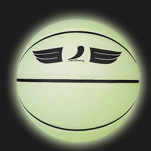 TianCheng Baloncesto reflectante que brilla en la oscuridad, uso interior y exterior, pelota de baloncesto luminosa de poliuretano, tamaño 7, bola de juego, bola de entrenamiento brillante