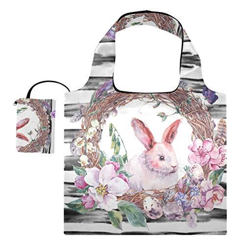 Wiederverwendbare Einkaufstaschen – Frühlings-Osterkranz mit Haseneiern, faltbare Tragetasche, groß, umweltfreundlich, Recycling-Tuch mit Beutel