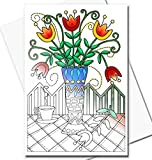Art Eclect Adult Coloring Greeting Cards for Birthdays, Thank You Note Cards and Sympathy Cards (10 Cards With 10 Different Unique Designs and 10 White Envelopes, Set Garden/White - 10 Cards)