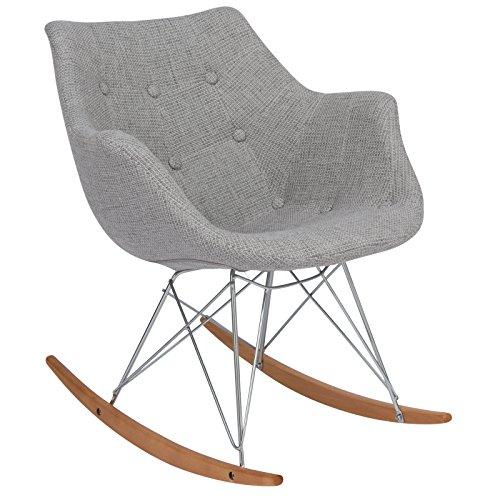 LeisureMod Willow Fabric Eiffel Base Modern Rocking Chair, Single, Grey