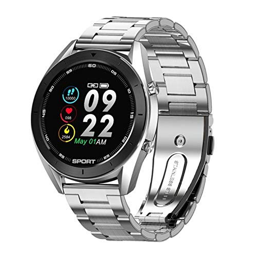 zyz Nuevo DT99 Smart Watch IP68 Impermeable Redondo Pantalla De Alta Definición ECG Detección Fitness Tracker Men's Y Women's Life Sports Watch,Plata