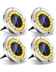 Luz Solar Jardin Decoracion Exterior 16 LEDs, 4Pcs VIRIDI 120LM Foco LED Exterior Solares Luces IP65 Acero Inoxidable Lawn Lámparas de Suelo Spotlight Iluminación para Paisaje Driveway Patios Caminos