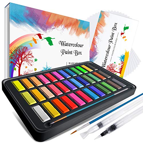 Watercolor Paint set ,Emooqi Premium Watercolour Paint Box with 36 Colors Pigment ,2 Hook Line Pen ,2 Water Brush Pen , Watercolor Paper Pad ,for Artists, Painting ,Professionals , Beginner Painters