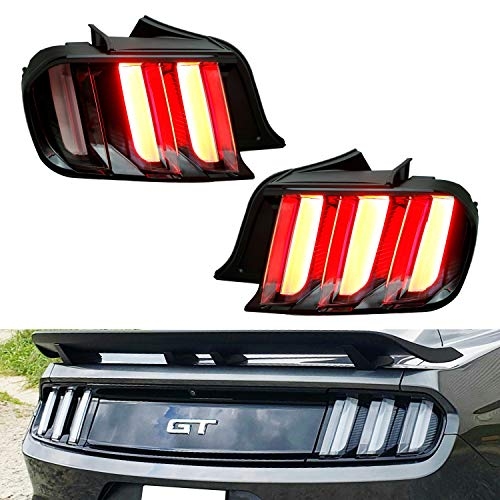 iJDMTOY Euro Style Clear Full LED Taillight Lamps w/Dynamic Sequential Turn Signal Compatible With 2015-2020 Gen6 Ford Mustang