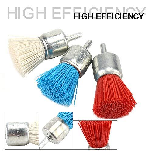 3Pcs 30mm Nylon Filament Abrasive Wire Brush End Brush Kit for Drill Rotary Tool 6mm Shank, Include Fine Medium Coarse Grit