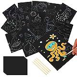 Art scratch, 16 piezas Cute Animal Scratch Pictures con 10 piezas Rainbow Scratch Paper y 4 piezas de madera Stylus Art Scratch Pen para fiestas infantiles y lecciones de dibujo