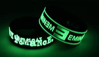 EMINEM 2PCS New! Glow in the Dark Bracelet Wristband 2X 52G5