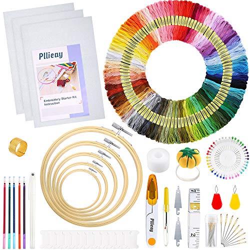 Pllieay Kit completo de bordado de 205 piezas con instrucciones, aros de bordado de bambú de 5 piezas, hilos de 100 colores, kit de herramientas de punto de cruz y tela Aida de 3 piezas para coser