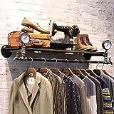 Ropa de segunda mano flotante estantes, Tubería industrial de la barra, estante de exhibición comercial, colgantes Unidad estante de la pared estantes de longitud 124cmCoat Bastidores tienda de ropa