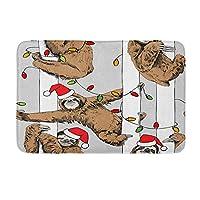玄関マットの印刷バスルームの装飾バスマットクリスマスツリーのサナアの茶色のパターン動物のパターンお祝いイブ落書き楽しい温かいお風呂の入り口ウェルカムマット滑り止めカーペットフロアマット