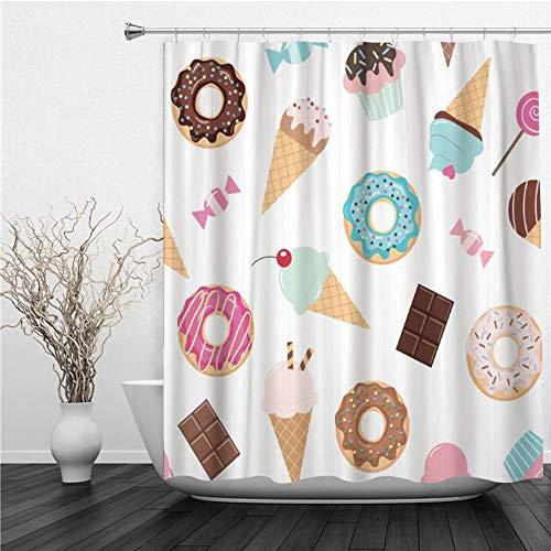 AIMILUX Duschvorhang 180x180cm,Bunte Geburtstagsbonbons EIS Donuts Cupcakes Schokoriegel,Duschvorhang Wasserabweisend-Duschvorhangringen 12 Shower Curtain mit