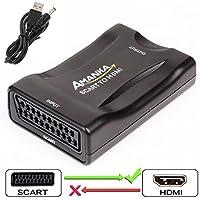 AMANKA Convertidor Euroconector a HDMI Conversor de Audio Vídeo 1080p Reproductor de Adaptador Entrada Scart Salida HDMI Apoyo 720/1080P para HDTV,DVD BLU-Ray,VCR,Proyector,VHS,PS1,PS2,Xbox