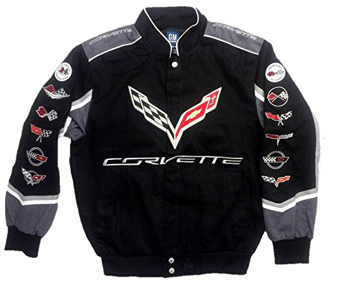 J.H. Design Corvette C7 Twill Jacket With Embroidered Logos by JH Design, Large, Black