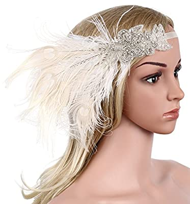 BABEYOND Women's Peacock Gatsby Party Wedding Headband with Ribbon Flapper Costumes Accessories Peacock Headband with Peacock Feather