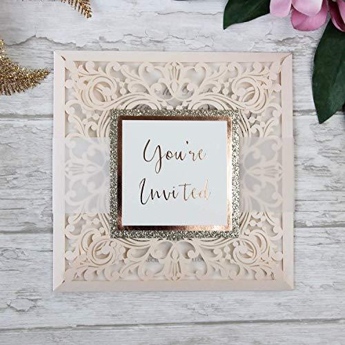 Lasergeschnittene Hochzeit Einladungskarten (Probe - Sample) DIY- Pfirsich Spitze - Hochzeitskartenn + Kuvert + unabhängiges Drucken- Vorgedrucktes Sample !