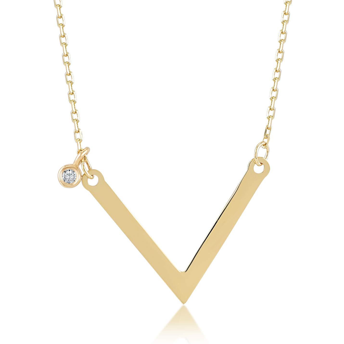 Gelin 14kゴールド0,01カラットダイヤモンドVペンダントネックレスレディーススタイル - 認定ファインジュエリー誕生日プレゼント - 41.91 cm