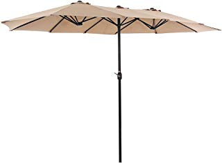 SUPERJARE 14 Ft Outdoor Patio Umbrella with 1.89 Inches Pole Caliber, Extra Large Double-Sided Design with Crank, Polyester Fabric - Beige