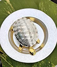 Style OK Elegant Designer Silver and Gold Touch Plate with Turtle Fengshui Tortoise Kachua Yantra Religious Item