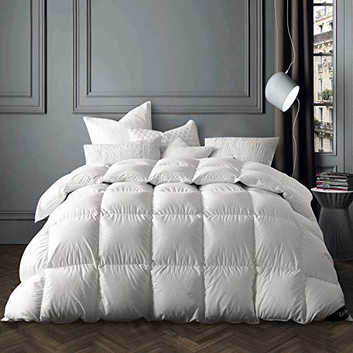 Globon Winter White Goose Down Comforter King Size,Down Duvet Insert 60 OZ, 700 Fill Power, 400 Thread Count 100% Cotton Shell, with Corner Tabs, White…