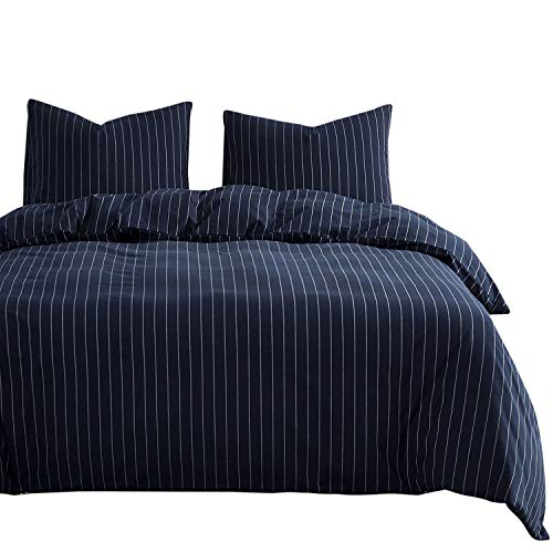 Wake In Cloud - Navy Striped Comforter Set, White Vertical Ticking Stripes Pattern on Navy Blue, 100% Cotton Fabric with Soft Microfiber Inner Fill Bedding (3pcs, Queen Size)