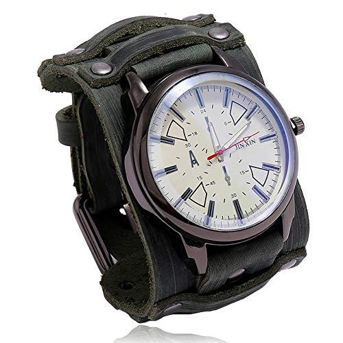 xiaoxioaguo Reloj de lujo para hombre reloj de cuarzo reloj de cristal azul estilo punk reloj de los hombres al aire libre reloj deportivo retroverde