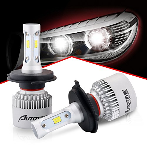 AutoTime H4(9003) LED Headlight Bulbs Hi-Lo Beam All-in-One Headlight Conversion Kit CSP Chips 72W 16000LM 6500K- 2 Year Warranty