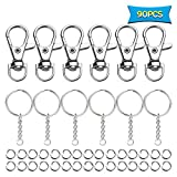 90pcs Swivel Snap Hook,Split Key Rings with Chain and Jump Rings for Jewelry Findings Making Keychain Lanyard DIY Crafts