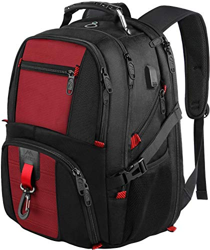 Laptop Rucksack Herren, 17 Zoll Laptop (43cm) Rucksack Damen Schulrucksack Jungen Teenager USB Rucksack Arbeit Business Wasserdicht Notebook Rucksäcke für Männer, Rucksäcke für Frauen, 45L, Rot