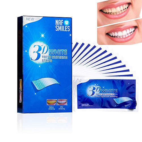 NAF Smiles Teeth Whitening Strips, Bleaching Strips, Non-Peroxide, Professional Non Slip, Safe for Enamel, 3D White, Bright Smile Removes Stains - 14 Pouches 28pcs