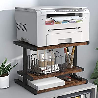 Industrial Printer Stands, Paper Organizer for Home & Office, Tribesigns Multifunctional Desktop Stand Organizer with Three-Tier Shelves, Anti - Skid Pads