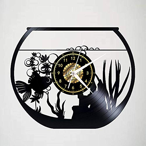 Pez En Una Pecera Reloj De Pared De Vinilo Negro Reloj De Pared Retro Decoración para El Hogar 12 Pulgadas Sin Luz Led