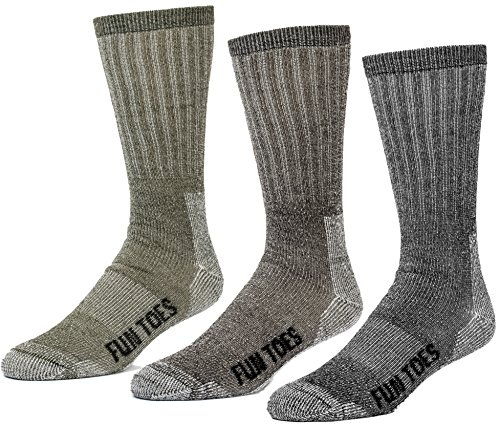 FUN TOES 3 pairs thermal insulated 80% merino wool socks men's, hiking size 8-12 (1 Black/ 1 Brown /1 Green)