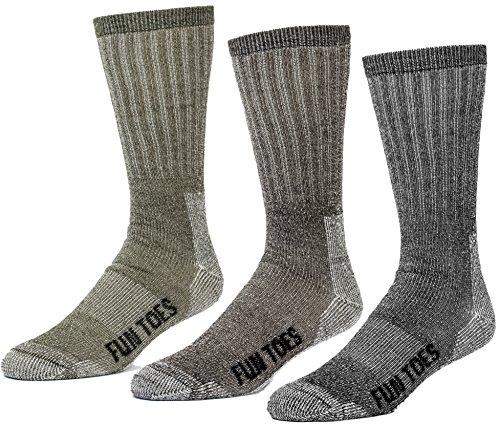FUN TOES 3 pairs thermal insulated 80% merino wool socks men's, hiking size 8-12