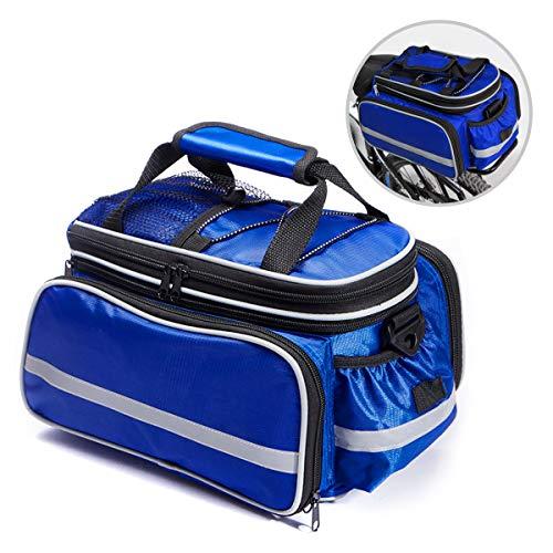 BODECIN Fahrradtasche, Outdoor Rucksack Fahrrad Rucksack Bike Gepäcktasche Gepäck Paket Rack Taschen Gepäckträger Tasche mit Regendichtes Abdeckung(Blau)