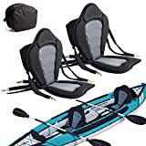 2 Pack of Kayak Seat Deluxe Padded Canoe Backrest Seat Sit On Top Cushioned Back Support SUP Paddle Board Seats with Detachable Storage Bag 4 Adjustable Straps for Kayaking Canoeing Rafting Fishing