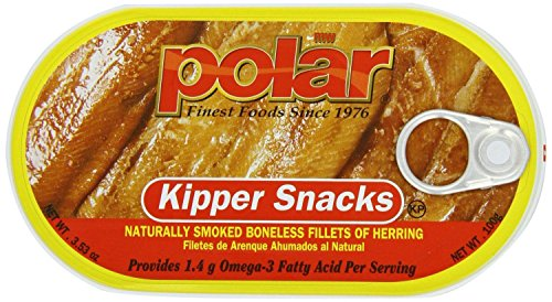 Polar Kipper Snacks - Smoked & Boneless Herring Fillets (Pack of 4) 3.53 oz Cans
