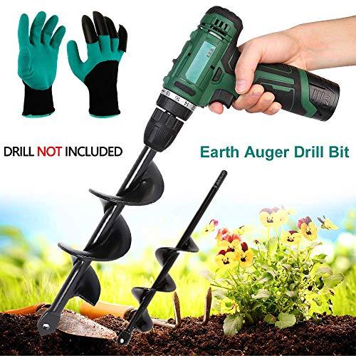 """AUZZO HOME 2 Stück Birne Bohrer Bohrer Garten Kultivator (12 """"x3, 9 """"x1.6) Handbohrmaschine Digger Auger Pflanzwerkzeug mit Garten-Handschuhe für Rapid-Pflanzer Keimlinge Blumenzwiebeln"""
