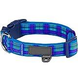 Anjing - Collar Acolchado para Perro, diseño de tartán, Cuello Mediano, Color Azul